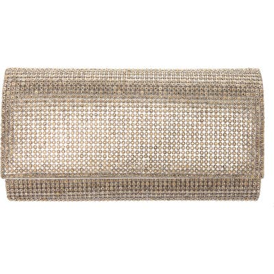 Nina Crystal Embellished Clutch - Metallic