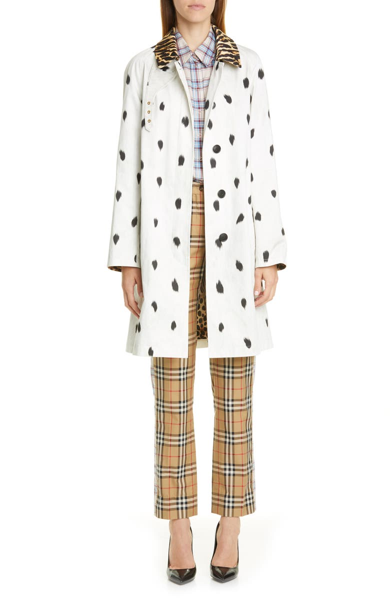 BURBERRY Carrington Animal Print Cotton Car Coat, Main, color, WHITE IP PATTERN