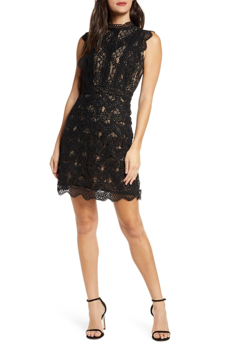 CHELSEA28 Chelsea 28 Sleeveless Allover Lace Sheath Dress, Main, color, BLACK