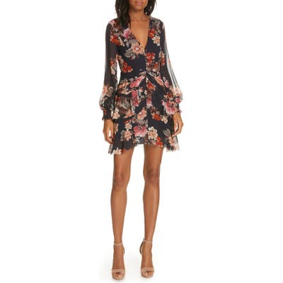 Nicholas Floral Layered Silk Dress, Blue