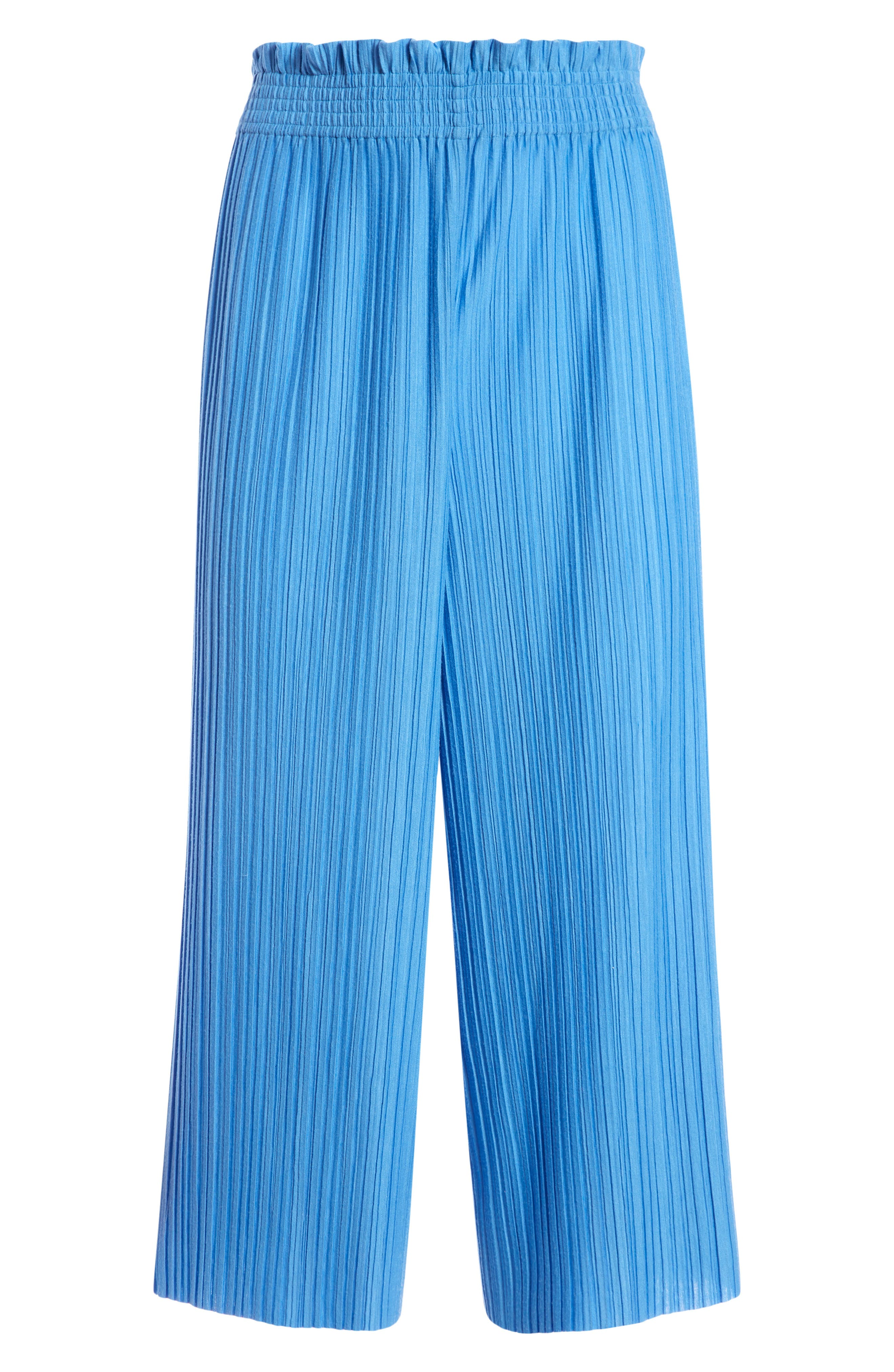 Combining all the breezy flow of a skirt with the relaxed feel of wide-leg pants, these silky, plisse-pleated culottes are further eased with an elastic waist. Style Name: Alice + Olivia Tucker Plisse Pleat Culottes. Style Number: 6059034. Available in stores.