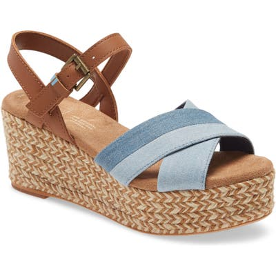 Toms Willow Espadrille Platform Wedge Sandal- Blue
