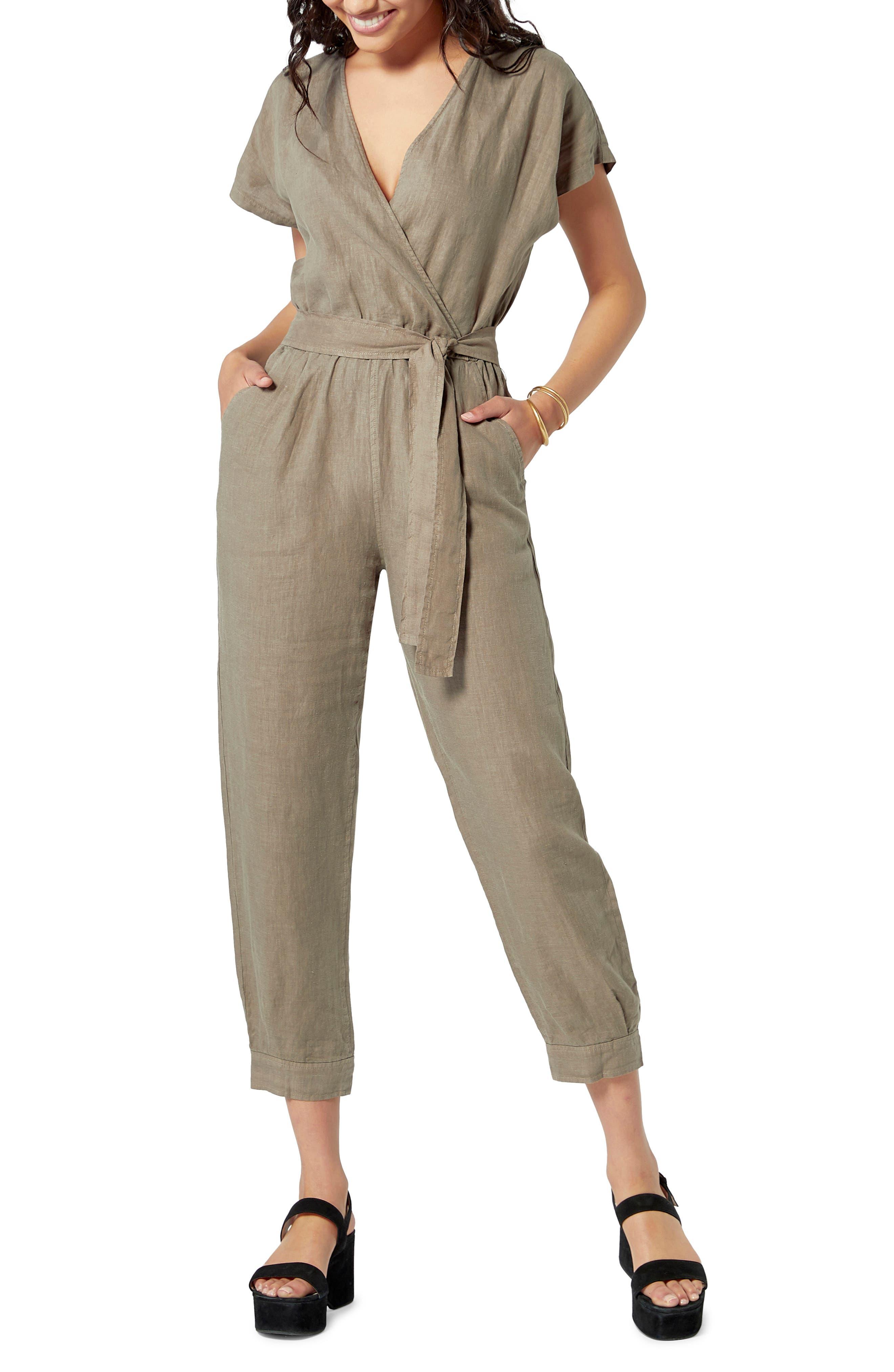 Azita V-Neck Belted Linen Jumpsuit