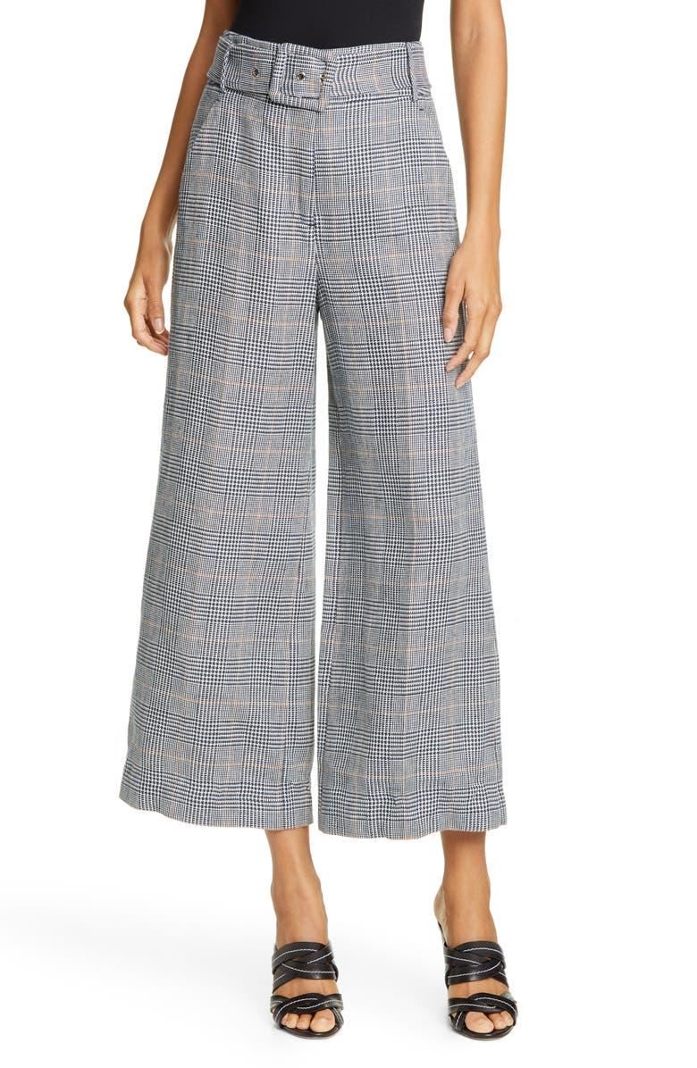 VERONICA BEARD Dexter Glen Plaid Crop Wide Leg Pants, Main, color, NAVY MULTI