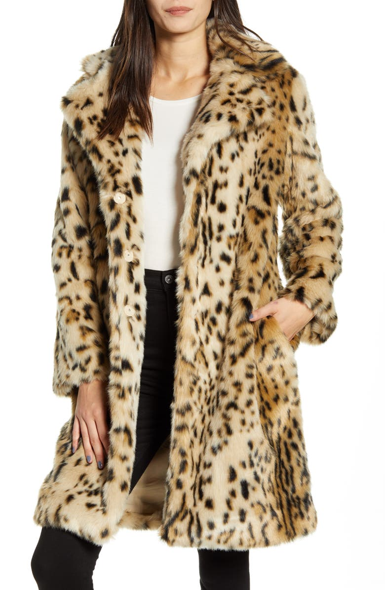 CUPCAKES AND CASHMERE Jericho Leopard Faux Fur Coat, Main, color, LEOPARD