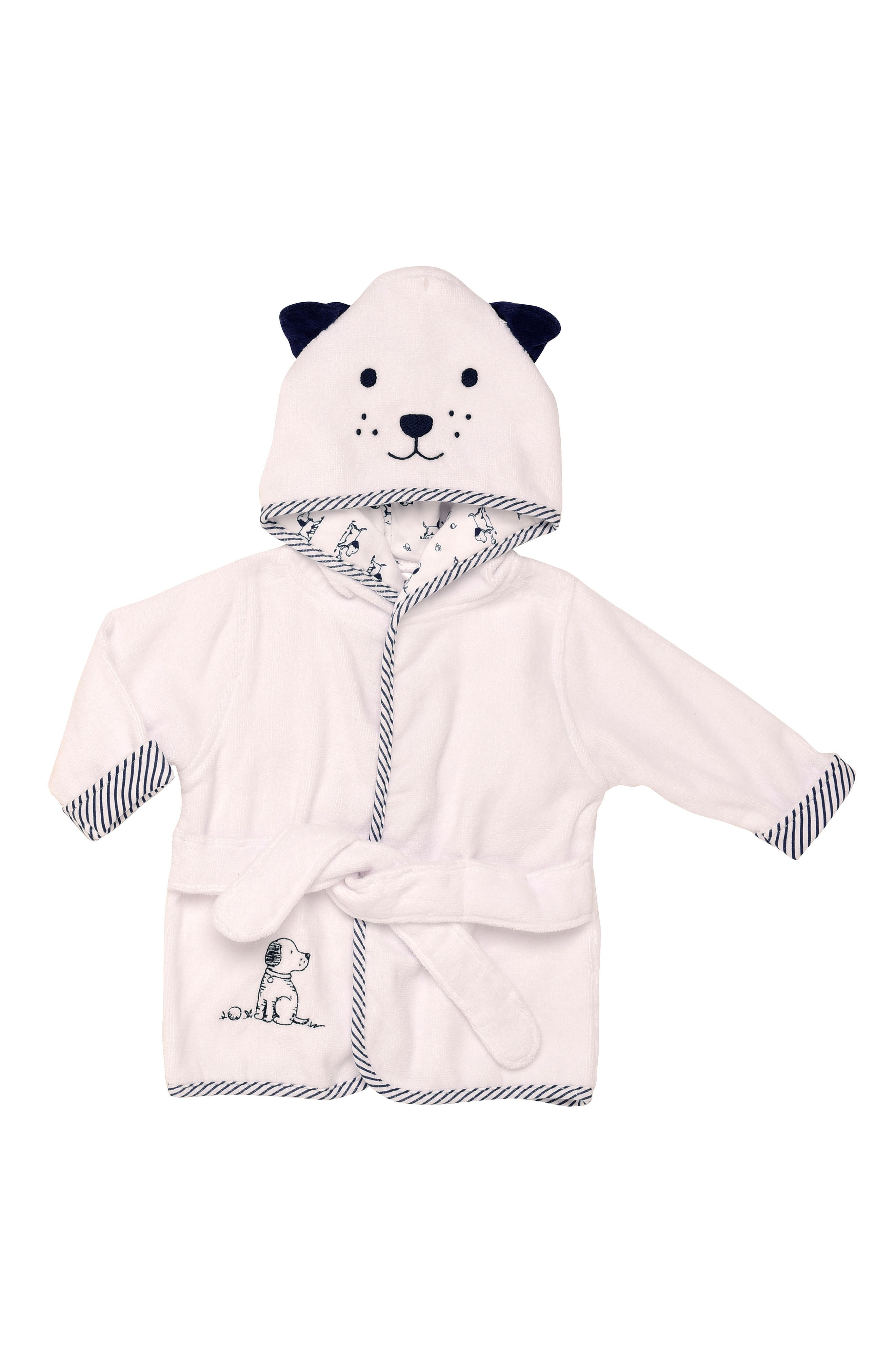 Infant Boys Little Me Puppy Velour Hooded Bath Robe Size 09M  White