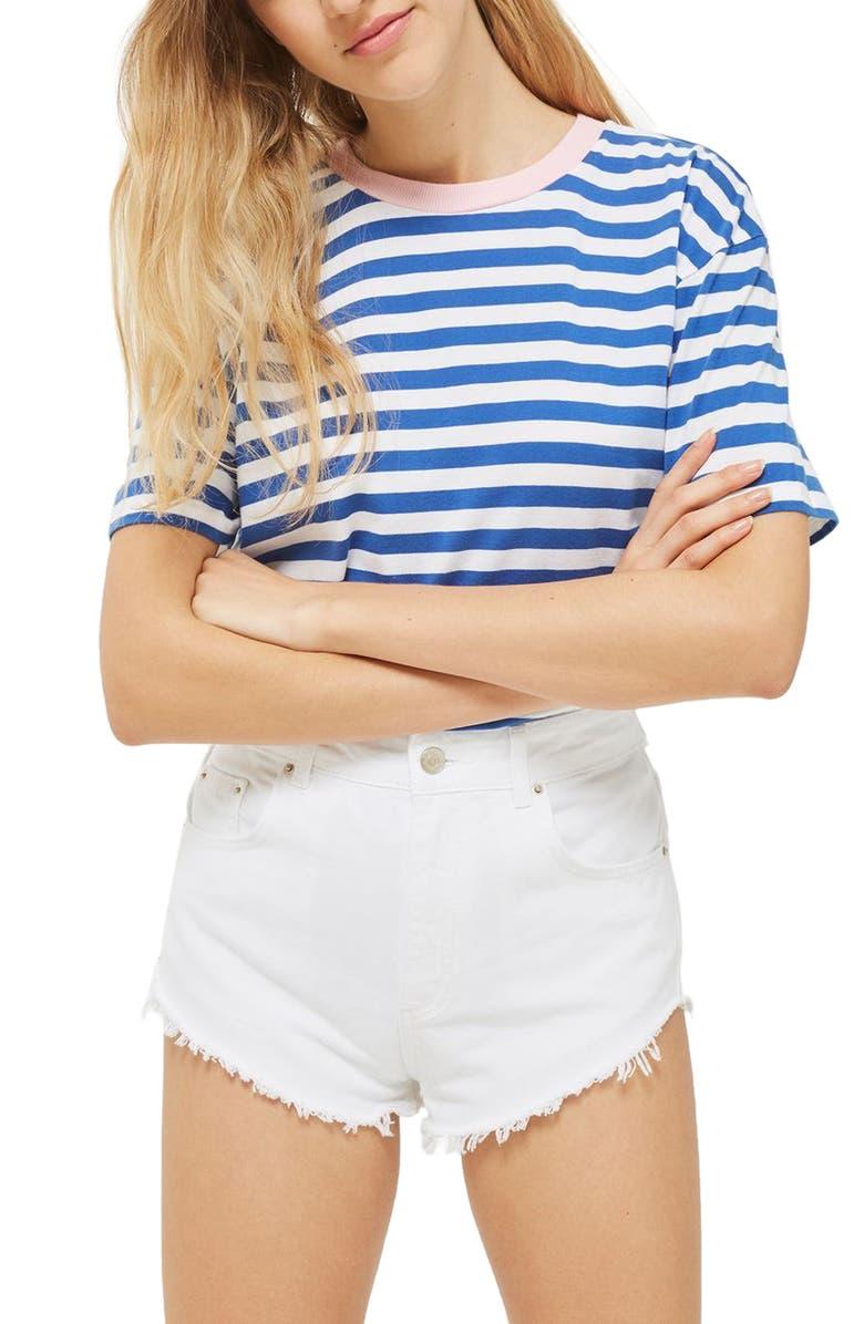 TOPSHOP Tophop Kiri Cutoff Denim Shorts, Main, color, White