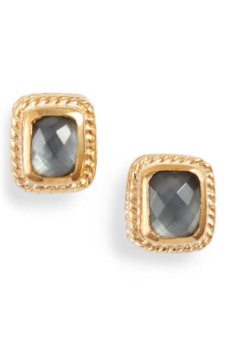 ANNA BECK Cushion Stone Stud Earrings, Main, color, GOLD/ GREY QUARTZ