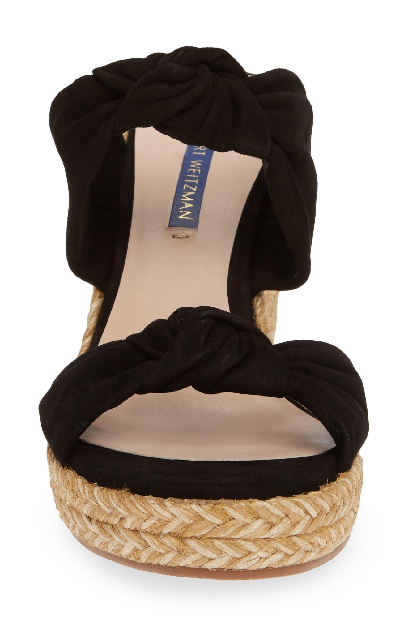 ,                             Sarina Espadrille Wedge Slide Sandal,                             Alternate thumbnail 4, color,                             BLACK SUEDE