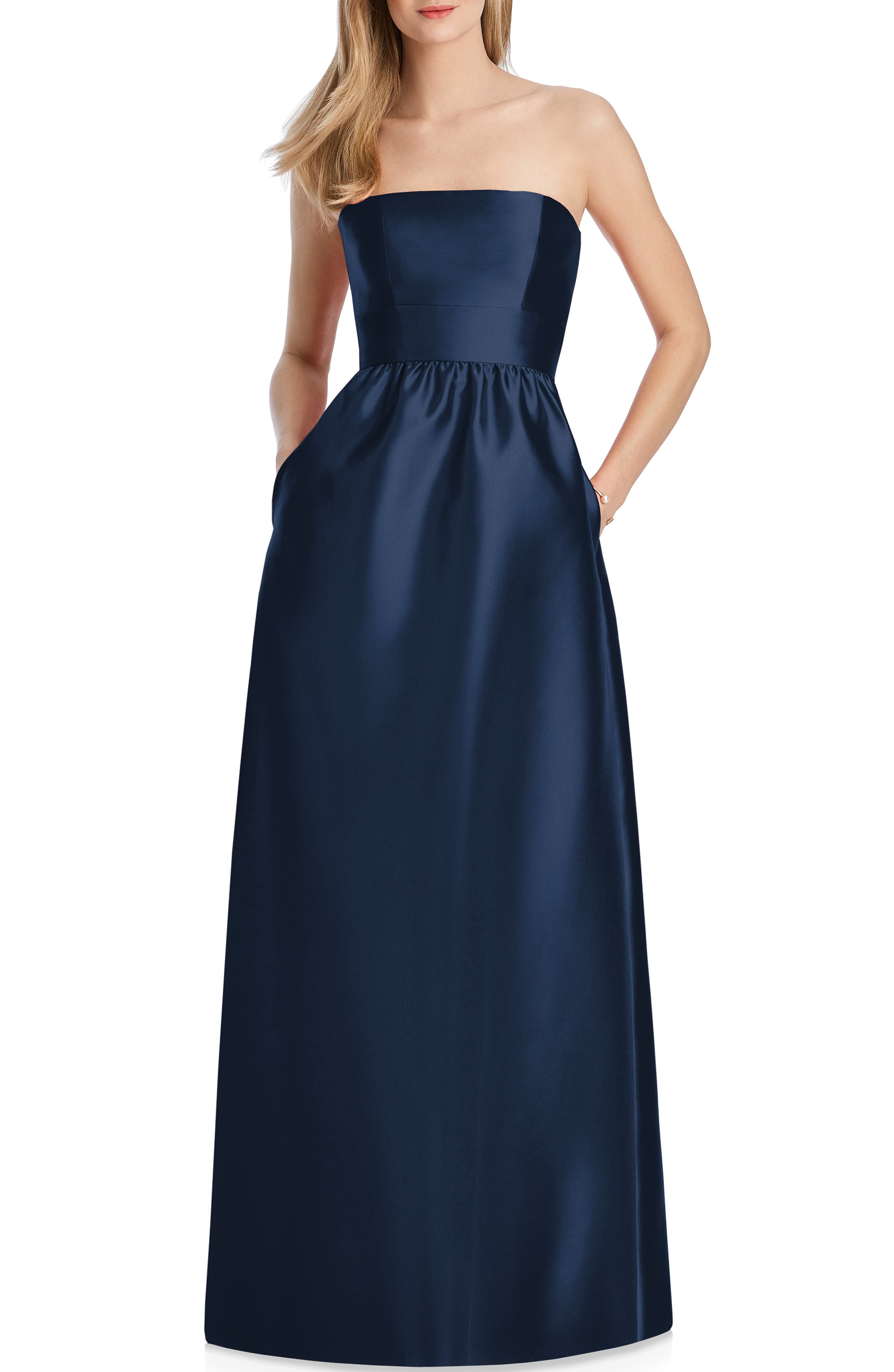 Lela Rose Bridesmaid Strapless Sateen Gown, Blue