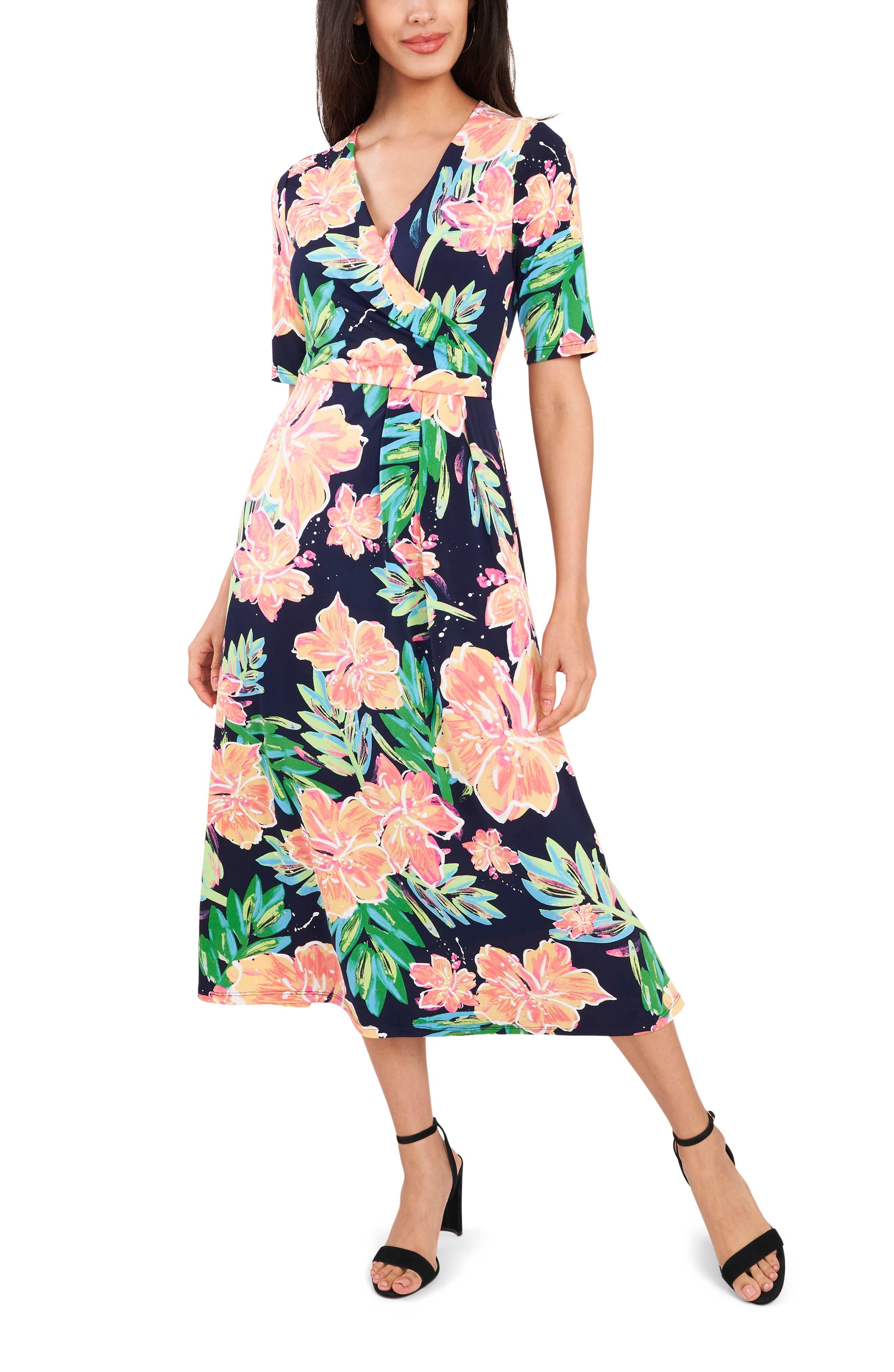 Floral Surplice Midi Dress