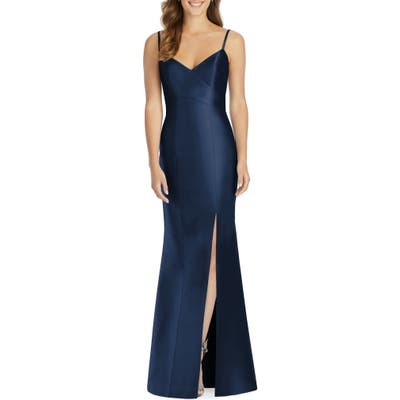 Plus Size Alfred Sung Sateen Twill Trumpet Gown, Blue