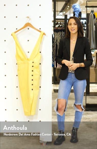 Plunge Neck Button Detail Stretch Cotton Dress, sales video thumbnail