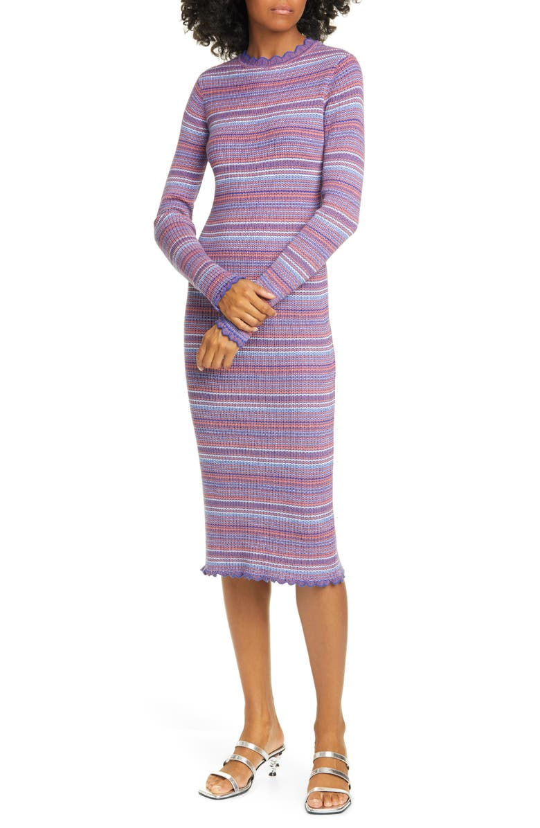 STINE GOYA Tinita Stripe Long Sleeve Wool Blend Dress, Main, color, 500