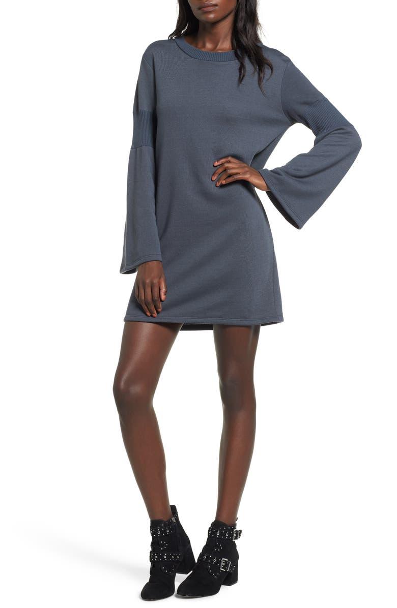 EVERLY Bell Sleeve Sweatshirt Dress, Main, color, 020
