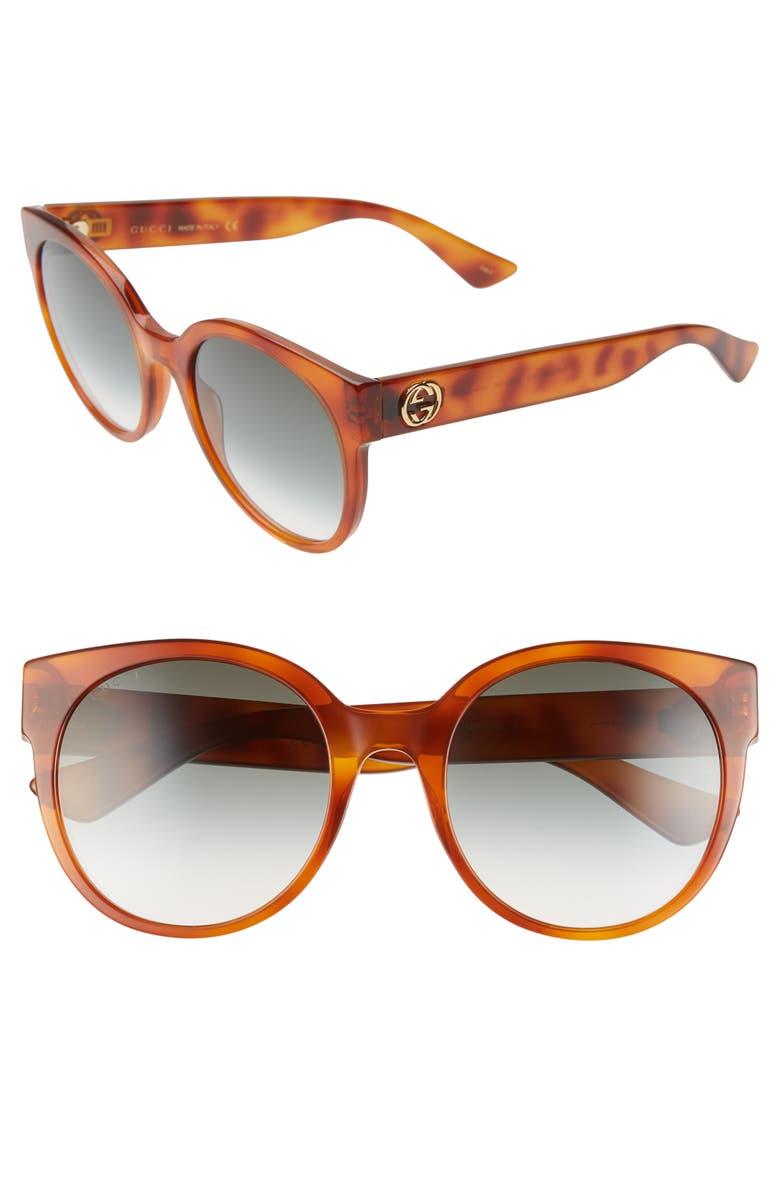 GUCCI 54mm Cat Eye Sunglasses, Main, color, HAVANA