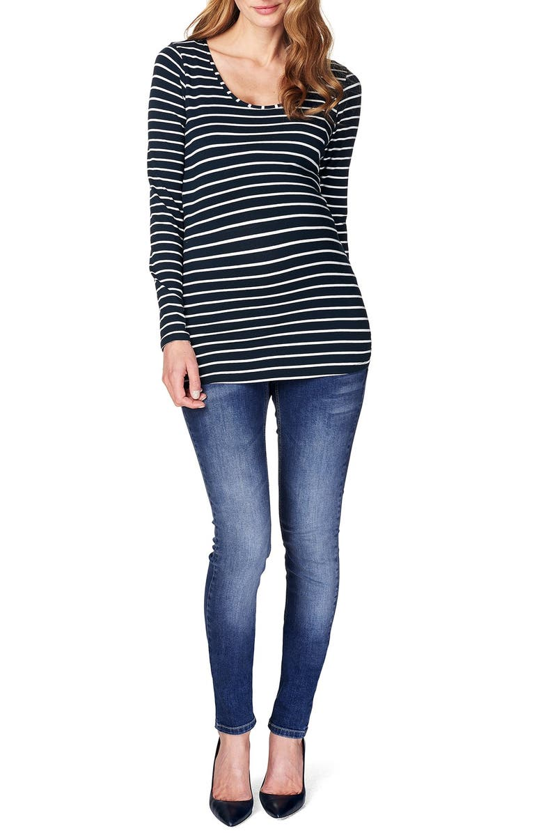 NOPPIES 'Lely' Stripe Scoop Neck Long Sleeve Tee, Main, color, DARK BLUE