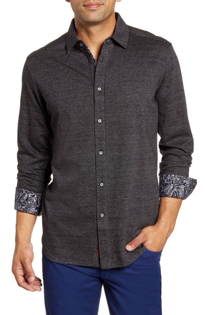 ROBERT GRAHAM Ruyter Regular Fit Button-Up Sport Shirt, Main, color, BLACK