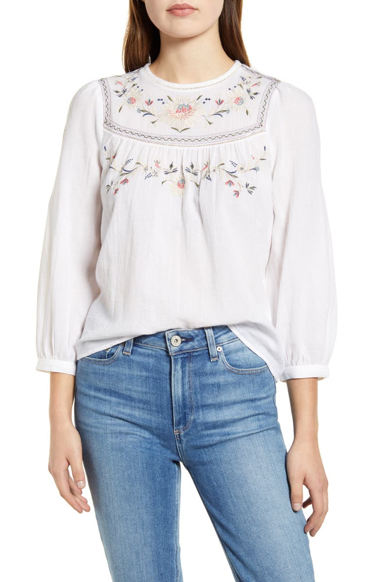 LUCKY BRAND Embroidered Yoke Cotton Peasant Top, Main, color, LUCKY WHITE