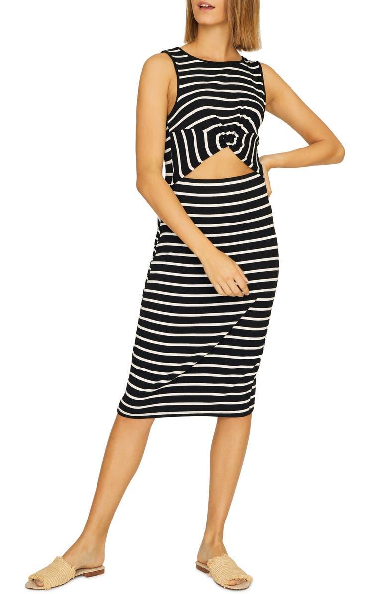 SANCTUARY Essentials Stripe Cutout Detail Dress, Main, color, 006