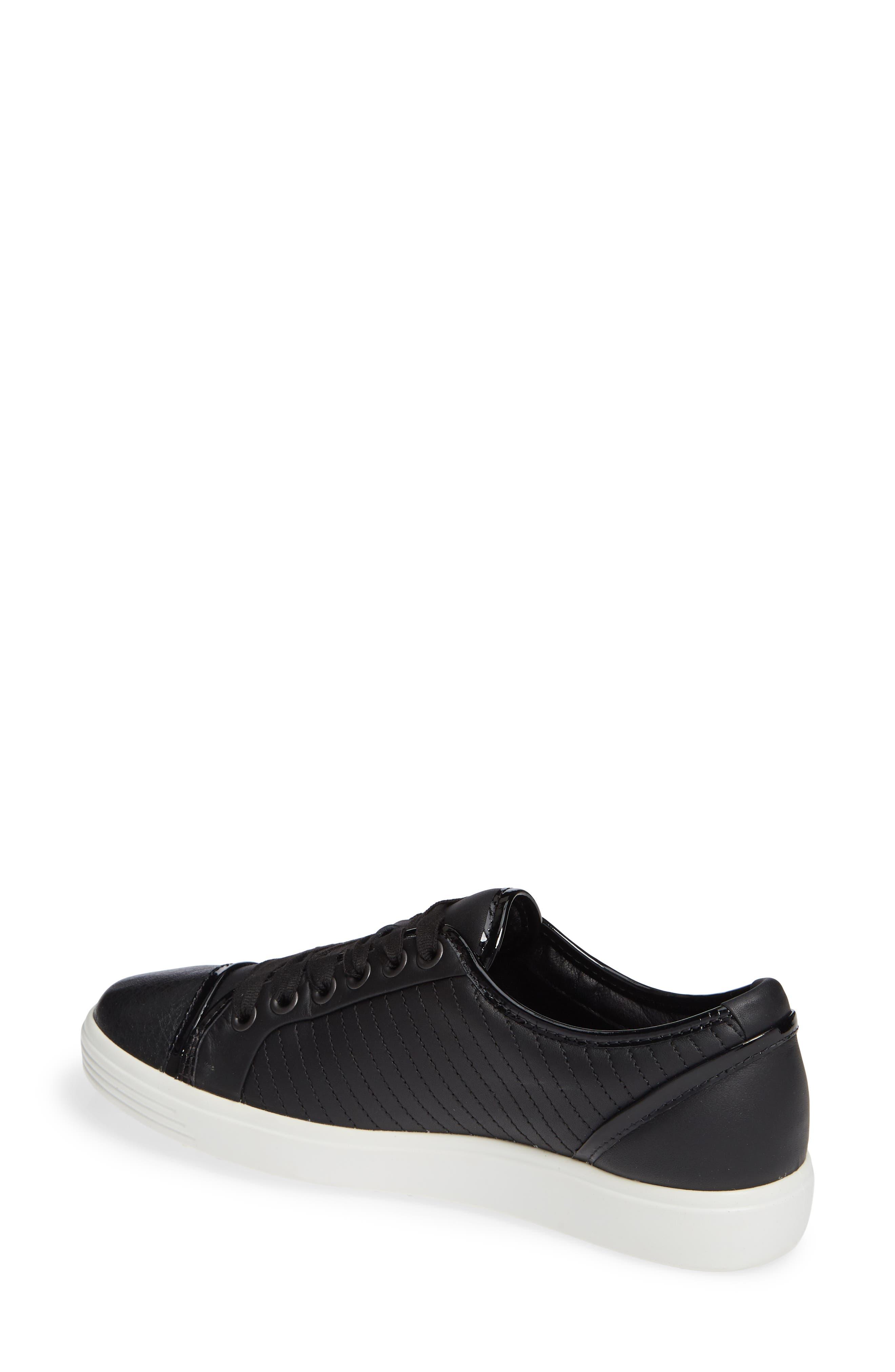 ,                             Soft 7 Cap Toe Sneaker,                             Alternate thumbnail 2, color,                             BLACK LEATHER