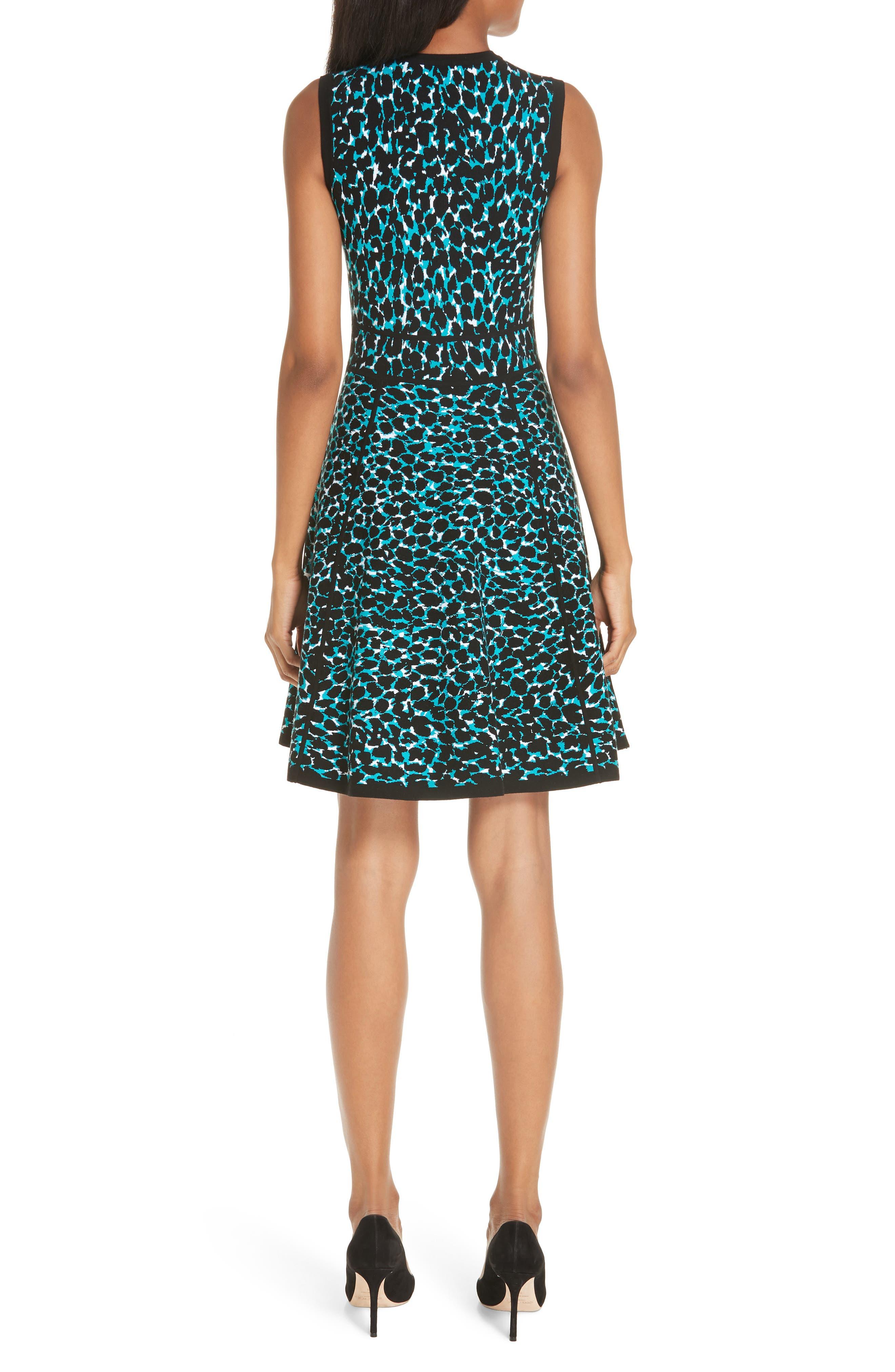 ,                             Leopard Print Zip Front Fit & Flare Dress,                             Alternate thumbnail 2, color,                             TURQUOISE W/ BLACK