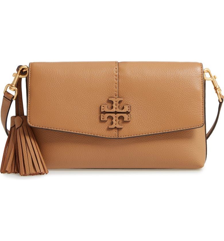 TORY BURCH McGraw Leather Crossbody Bag, Main, color, TIRAMISU