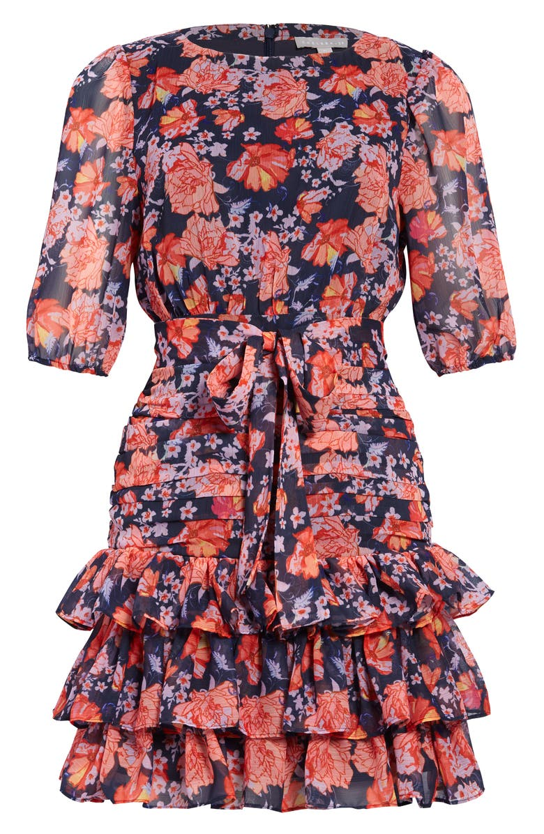 CHELSEA28 Floral Print Tiered Ruffle Dress, Main, color, CORAL BLOOMS FLORAL
