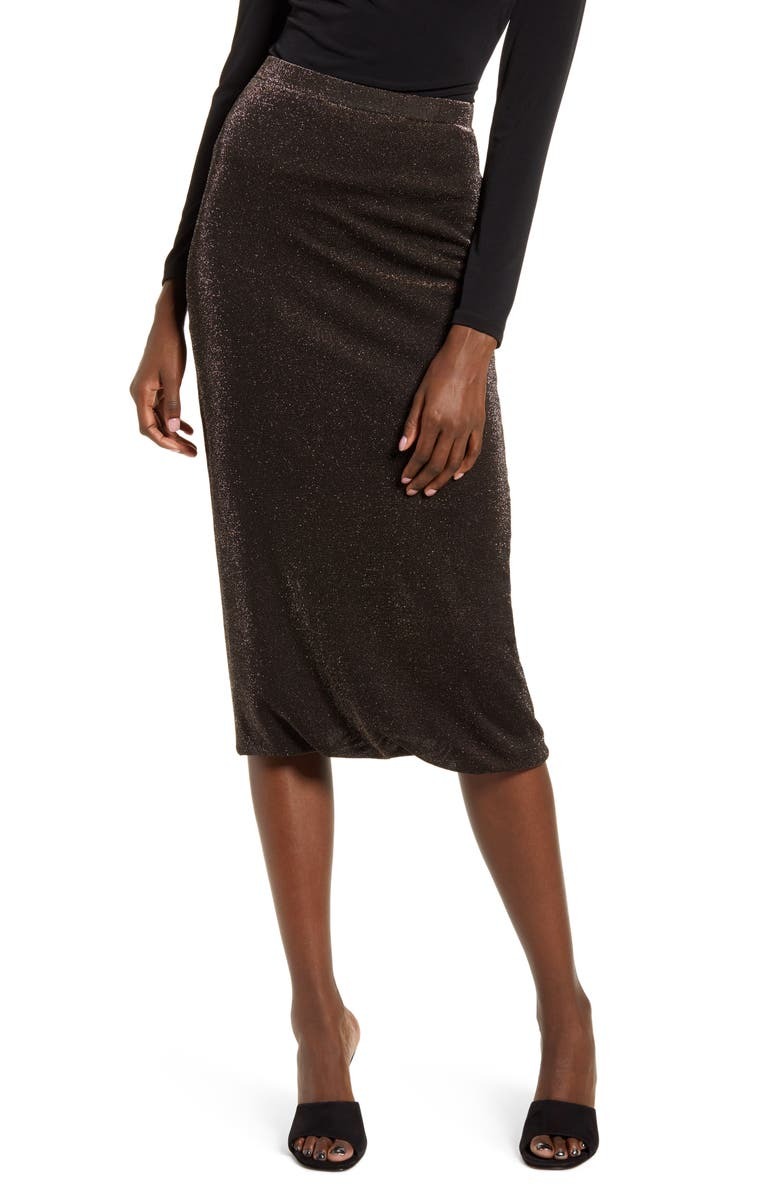WAYF Lauren Twist Hem Midi Skirt, Main, color, 001