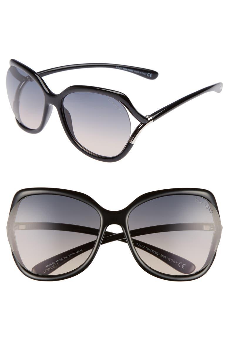TOM FORD Anouk 60mm Geometric Sunglasses, Main, color, BLACK/ GRADIENT SMOKE