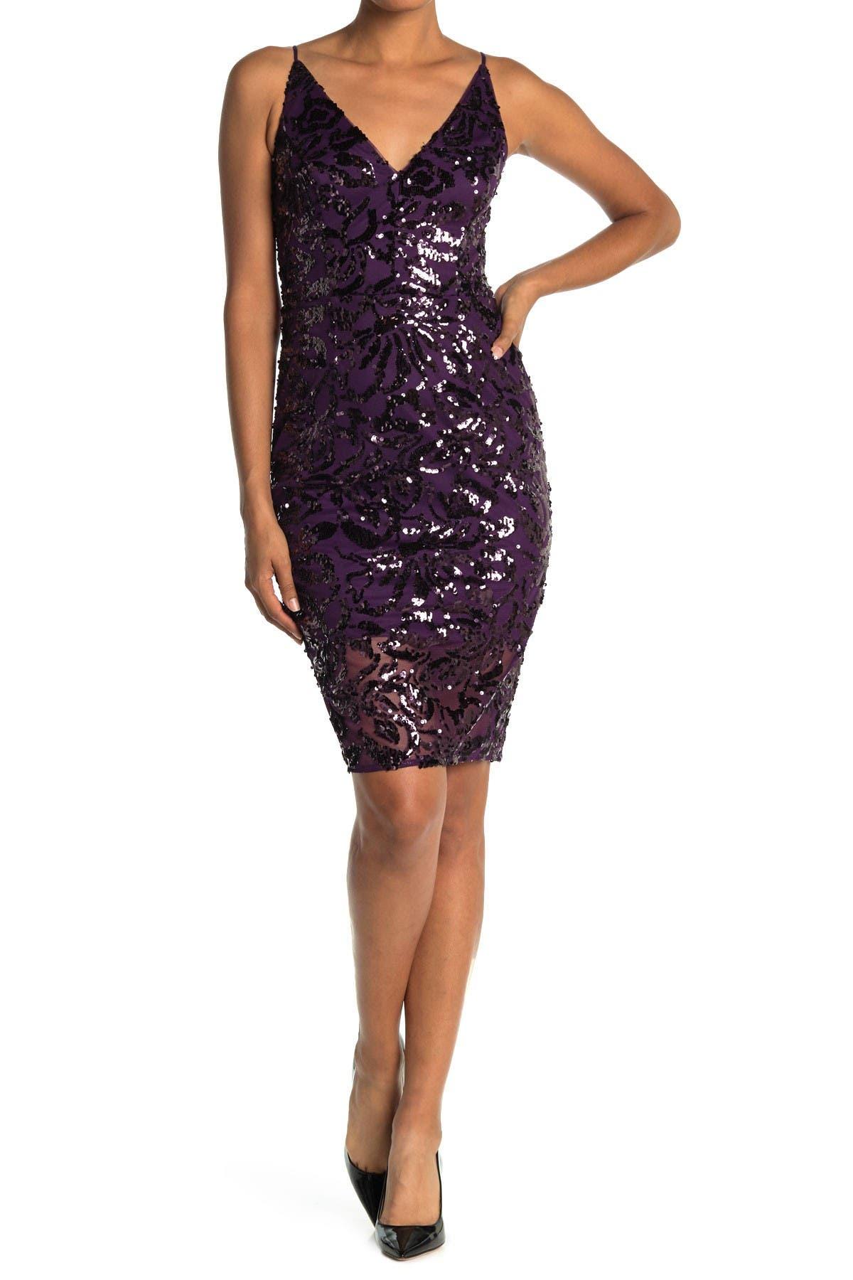 Image of Eliza J V-Neck Sleeveless Sequin Sheath Dress