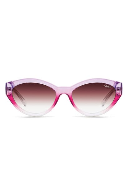 Quay X Lizzo Totally Buggin 49mm Gradient Cat Eye Sunglasses In Purple Pink Fade/ Brown