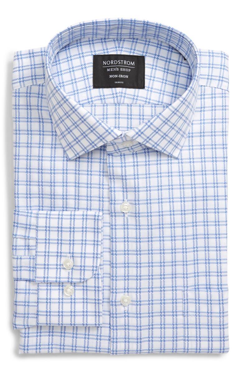 NORDSTROM Men's Shop Trim Fit Non-Iron Solid Dress Shirt, Main, color, BLUE FRENCH