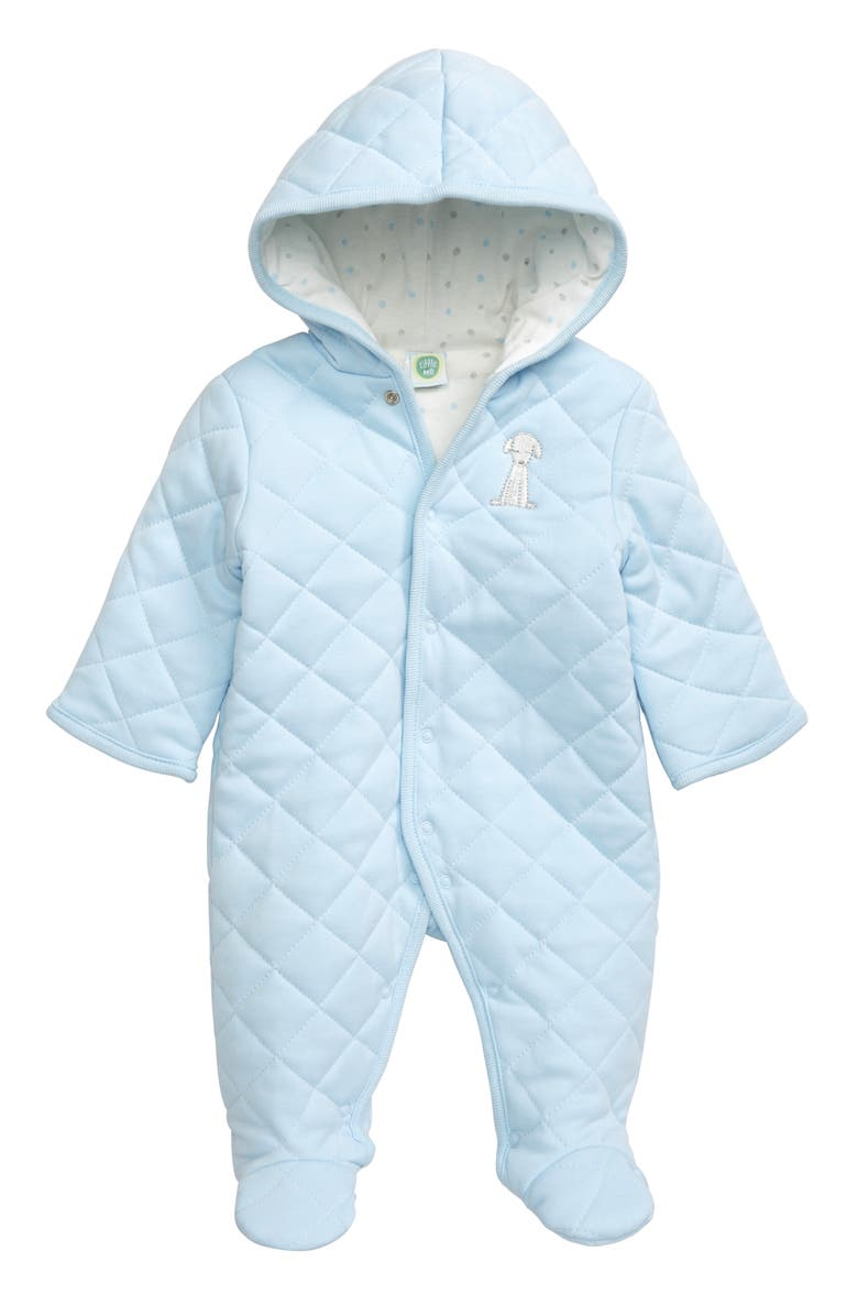 LITTLE ME Spots Quilted Hooded Bunting, Main, color, BLUE