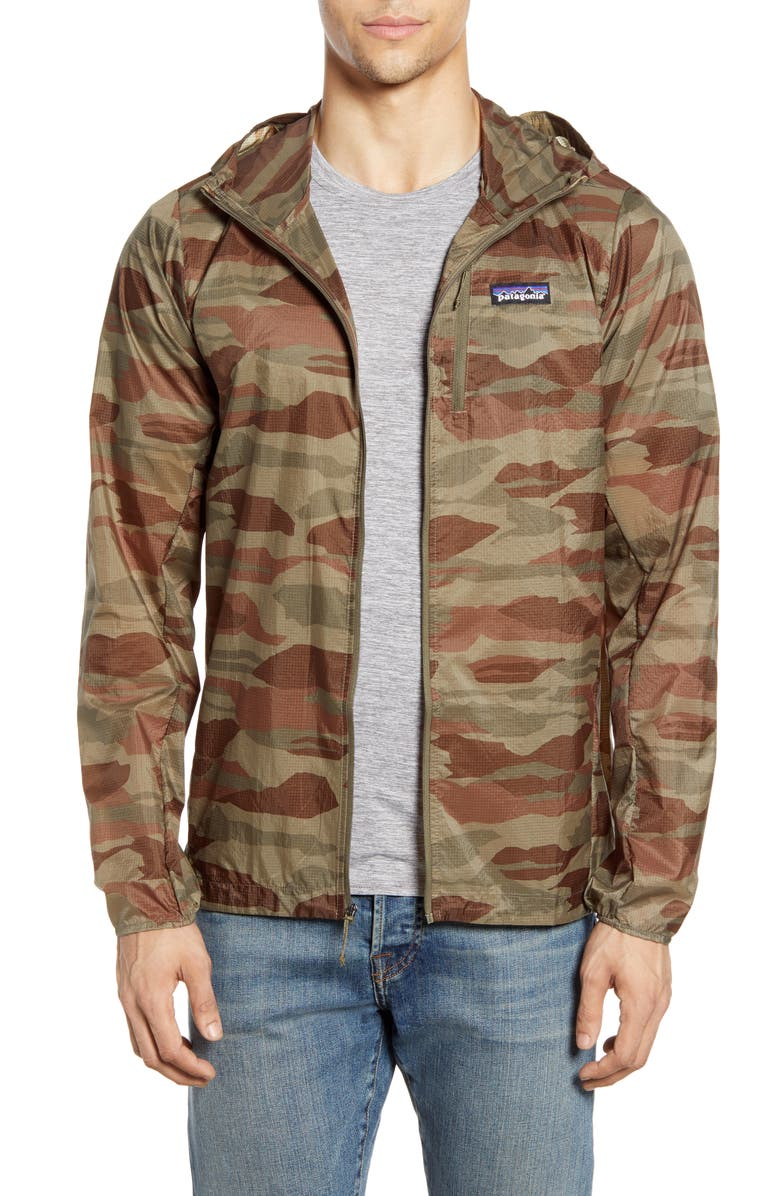 PATAGONIA Houdini<sup>®</sup> Water Repellent Hooded Jacket, Main, color, BEAR WITNESS CAMO SAGE KHAKI