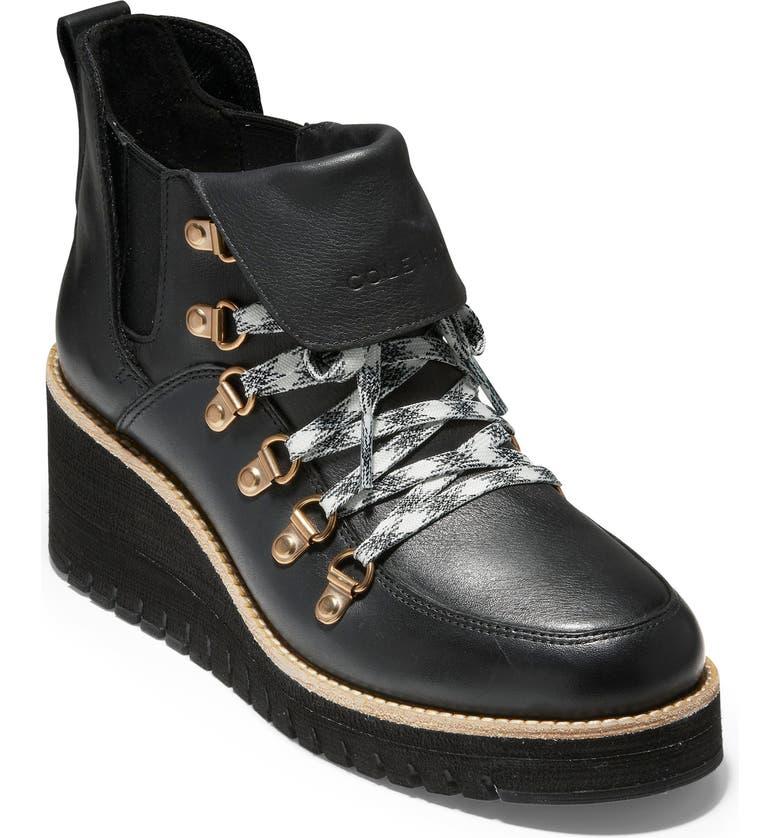 COLE HAAN ZeroGrand Waterproof Wedge Hiker Boot, Main, color, BLACK/ IVORY LEATHER