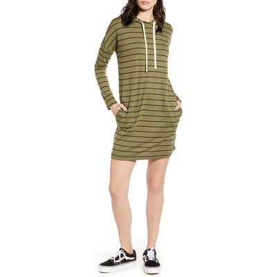 Billabong So Easy Long Sleeve Hoodie Minidress, Green