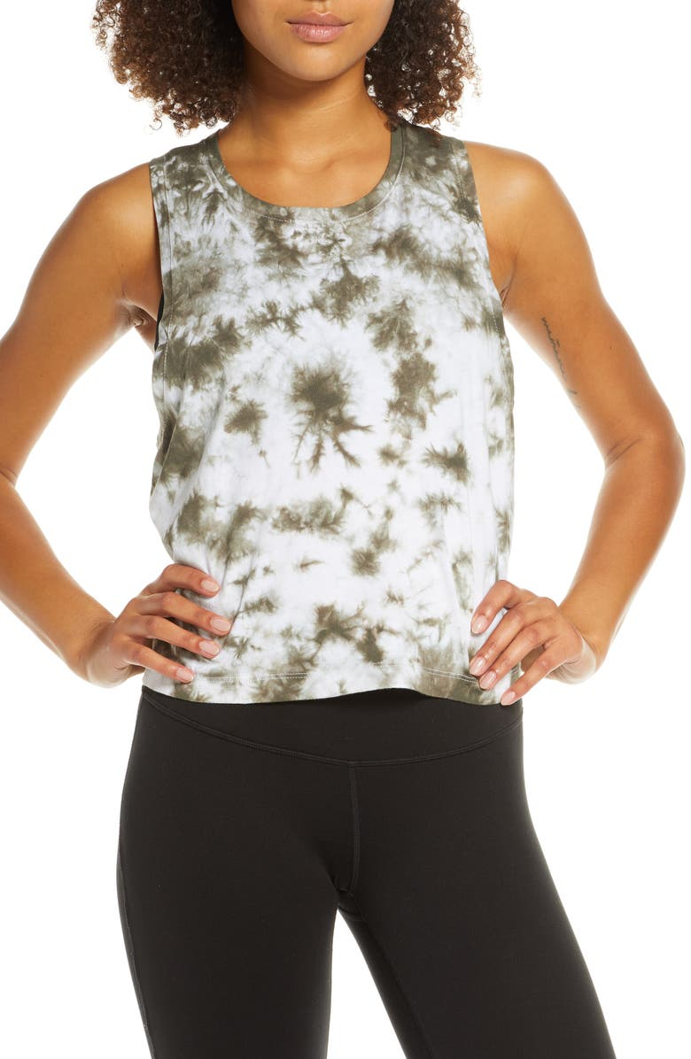 ZELLA Work for It Tie Dye Tank, Main, color, GREEN TACTICAL