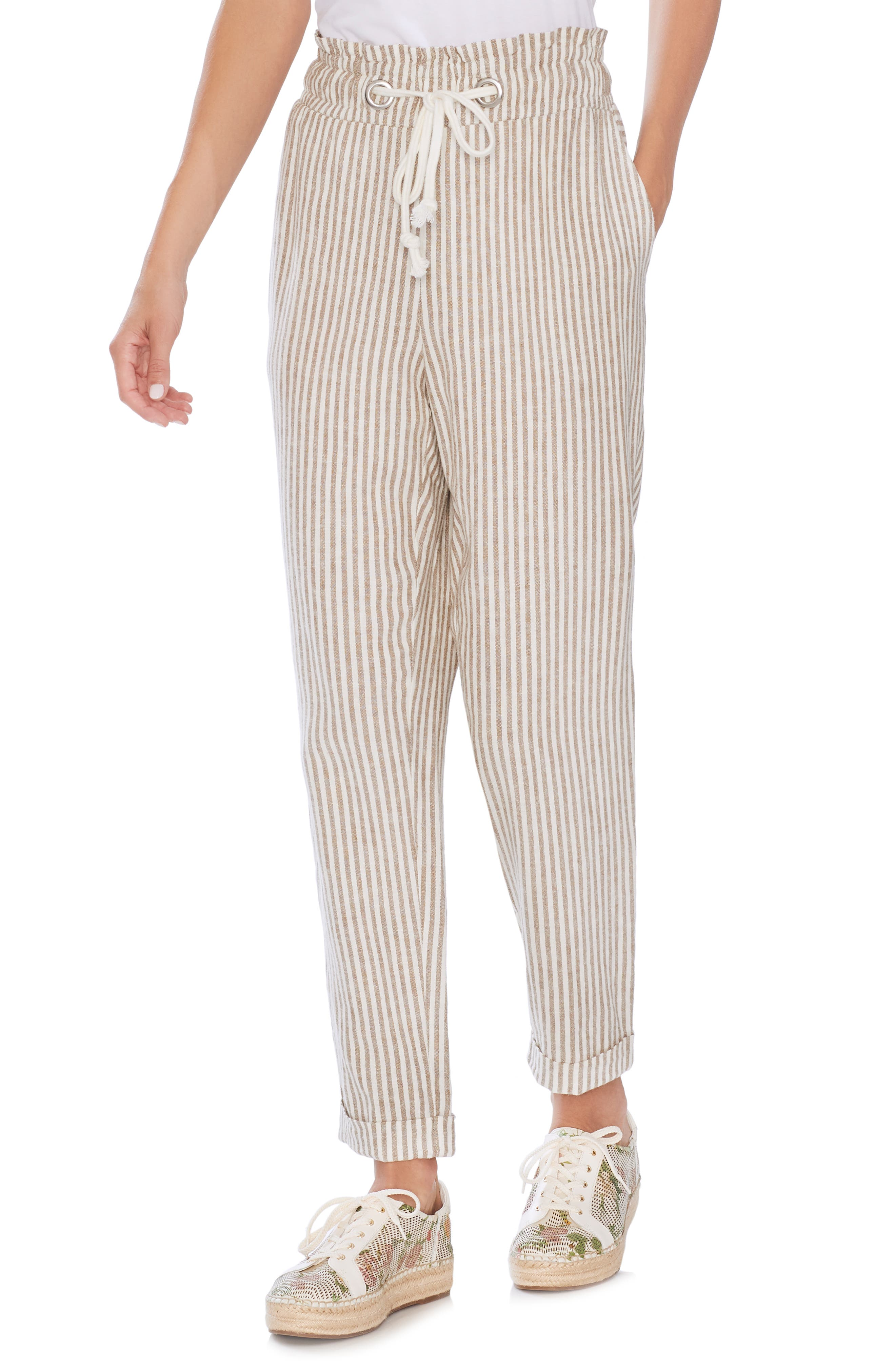 Drawstring Stripe Pants, Main, color, NATURAL