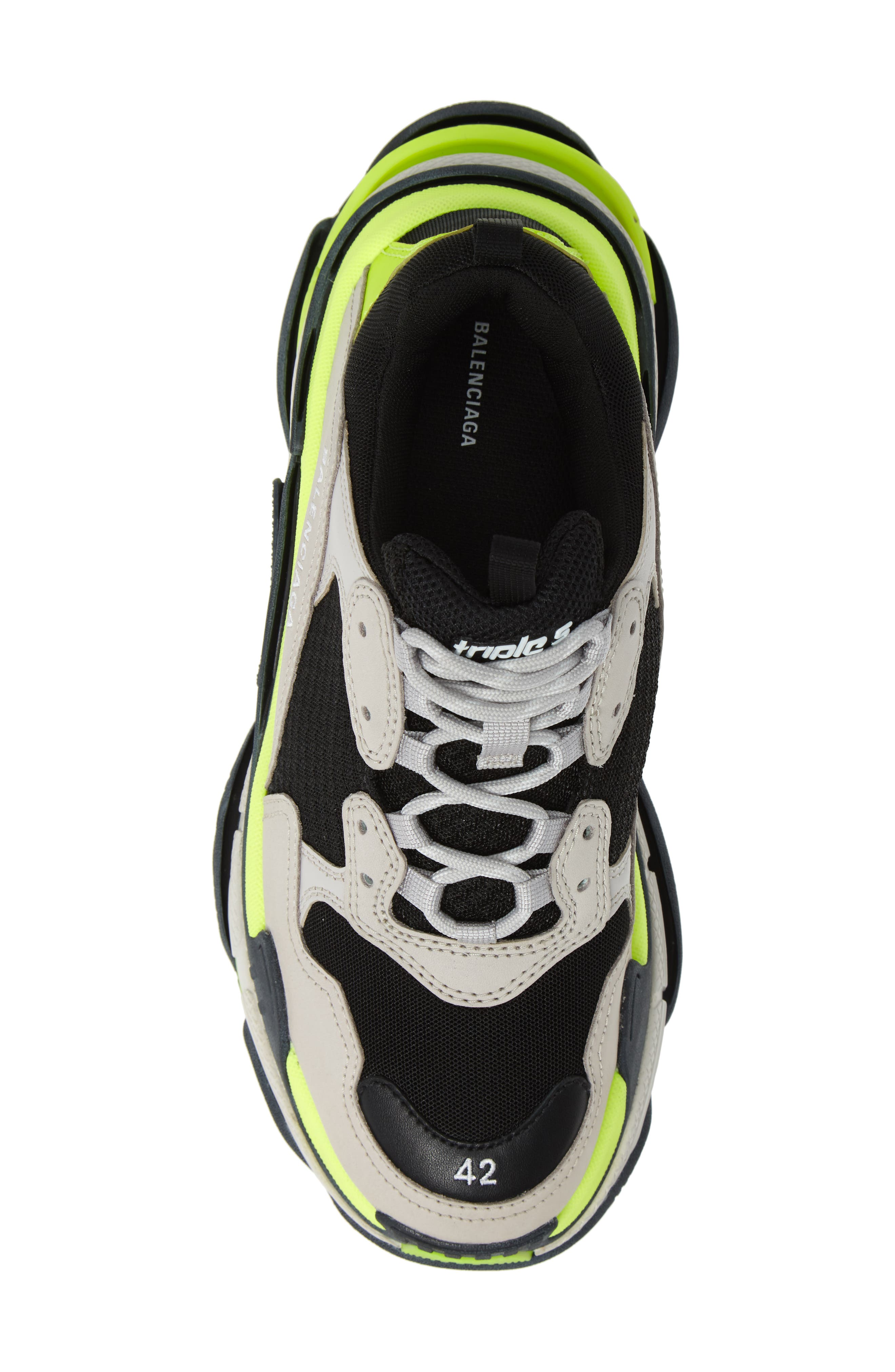 ,                             Triple S Retro Sneaker,                             Alternate thumbnail 5, color,                             GREY/ YELLOW FLUO
