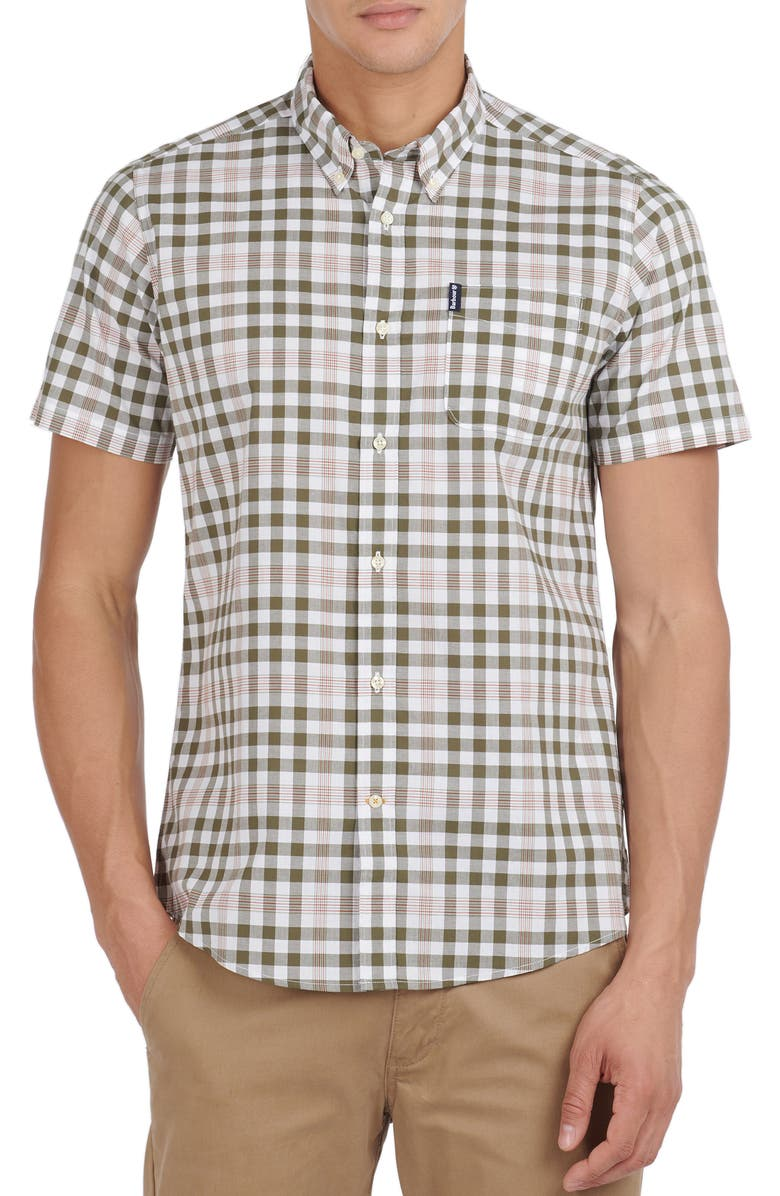 BARBOUR Tailored Fit Gingham Check Short Sleeve Button-Down Shirt, Main, color, MID OLIVE