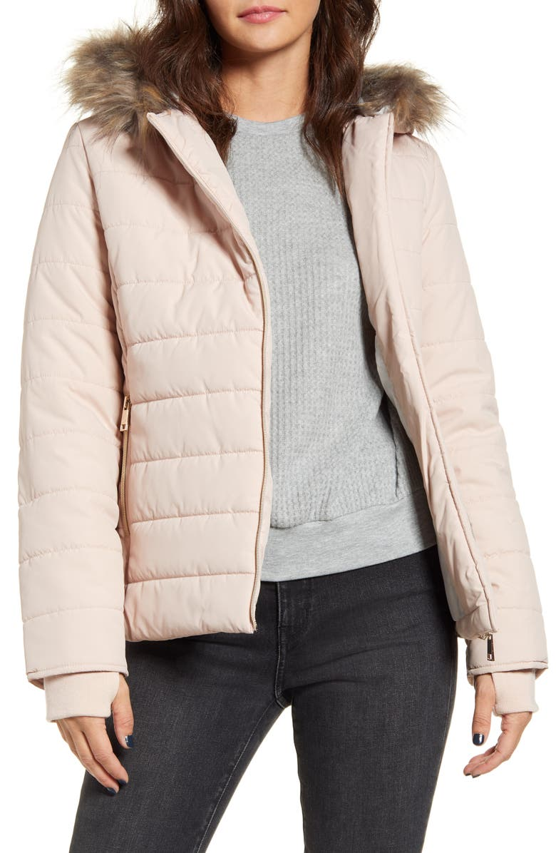 MARALYN & ME Quilted Faux Fur Trim Hooded Jacket, Main, color, 650