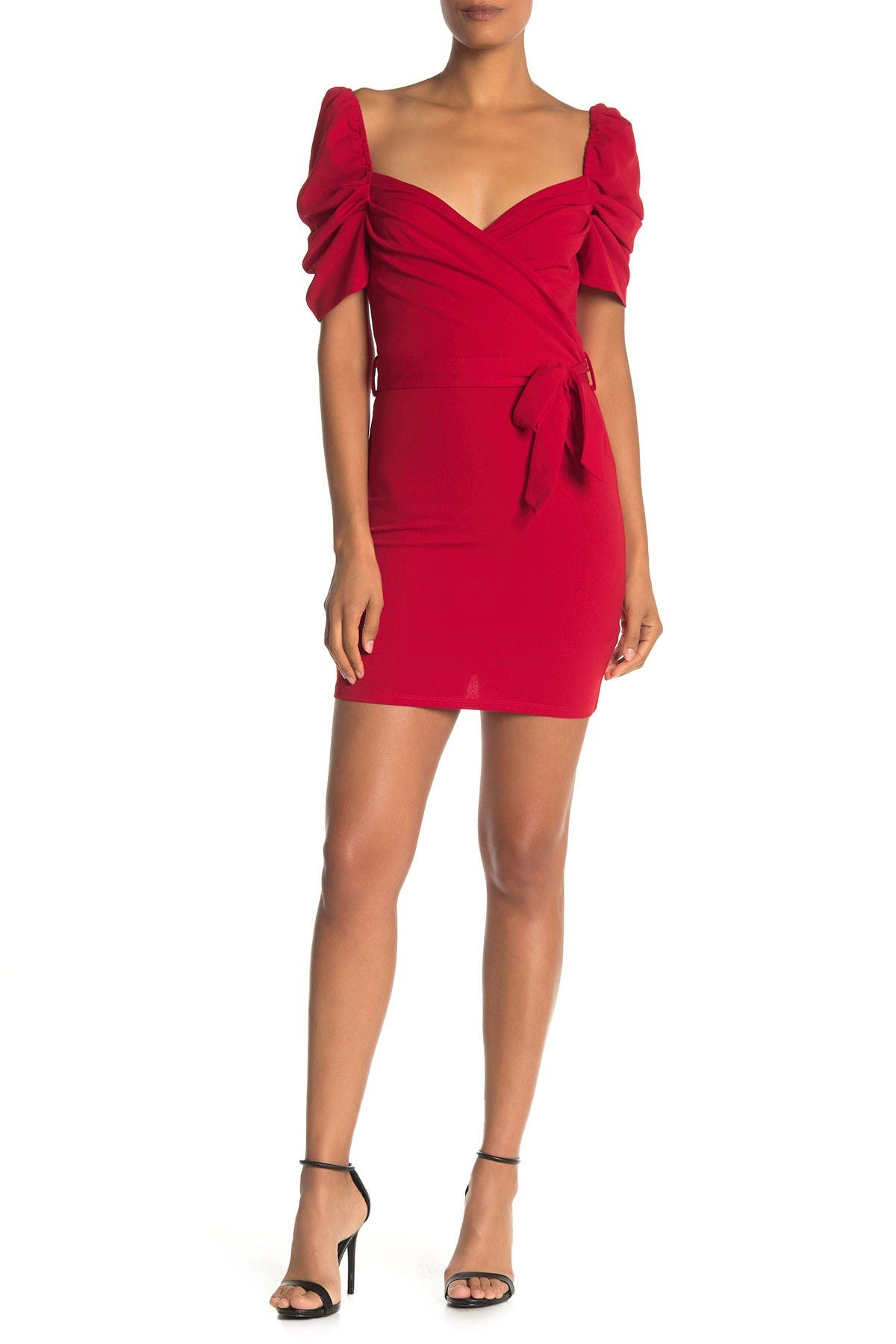 Image of MAX & ASH Wrap Puff Sleeve Dress