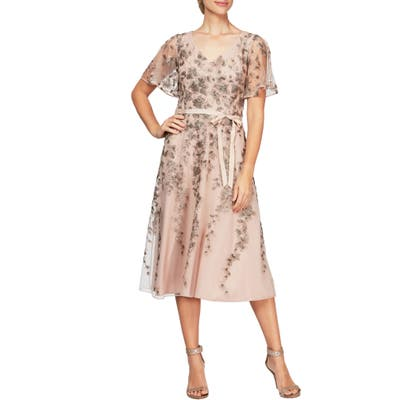 Alex Evenings Embroidered Tulle A-Line Dress, Pink
