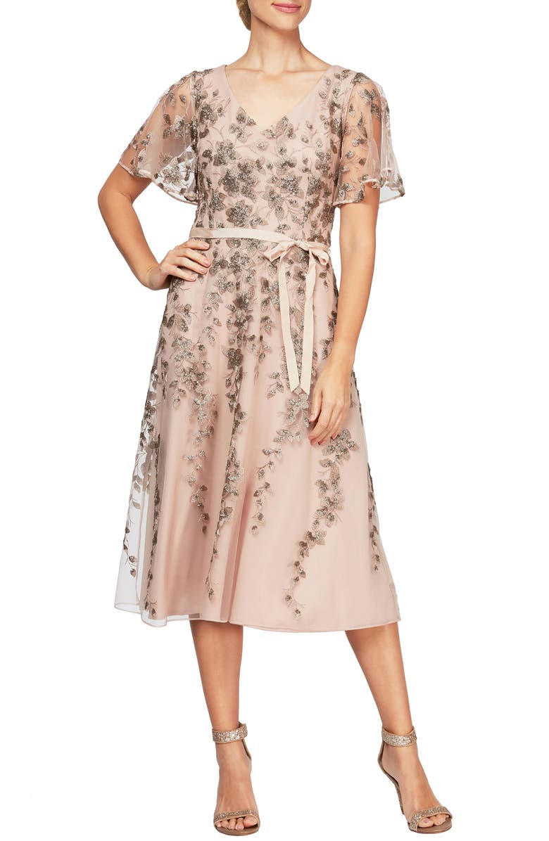 ALEX EVENINGS Embroidered Tulle A-Line Dress, Main, color, MOCHA