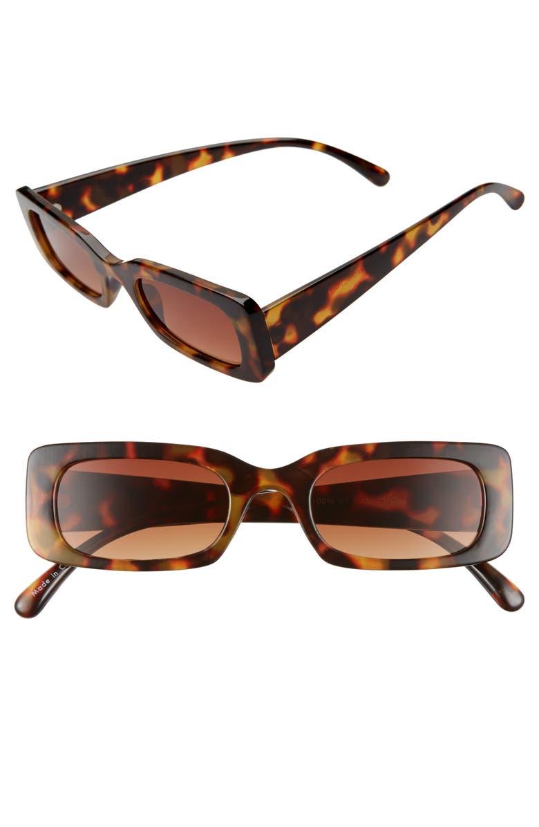 BP. 49mm Rounded Rectangular Sunglasses, Main, color, BROWN TORT