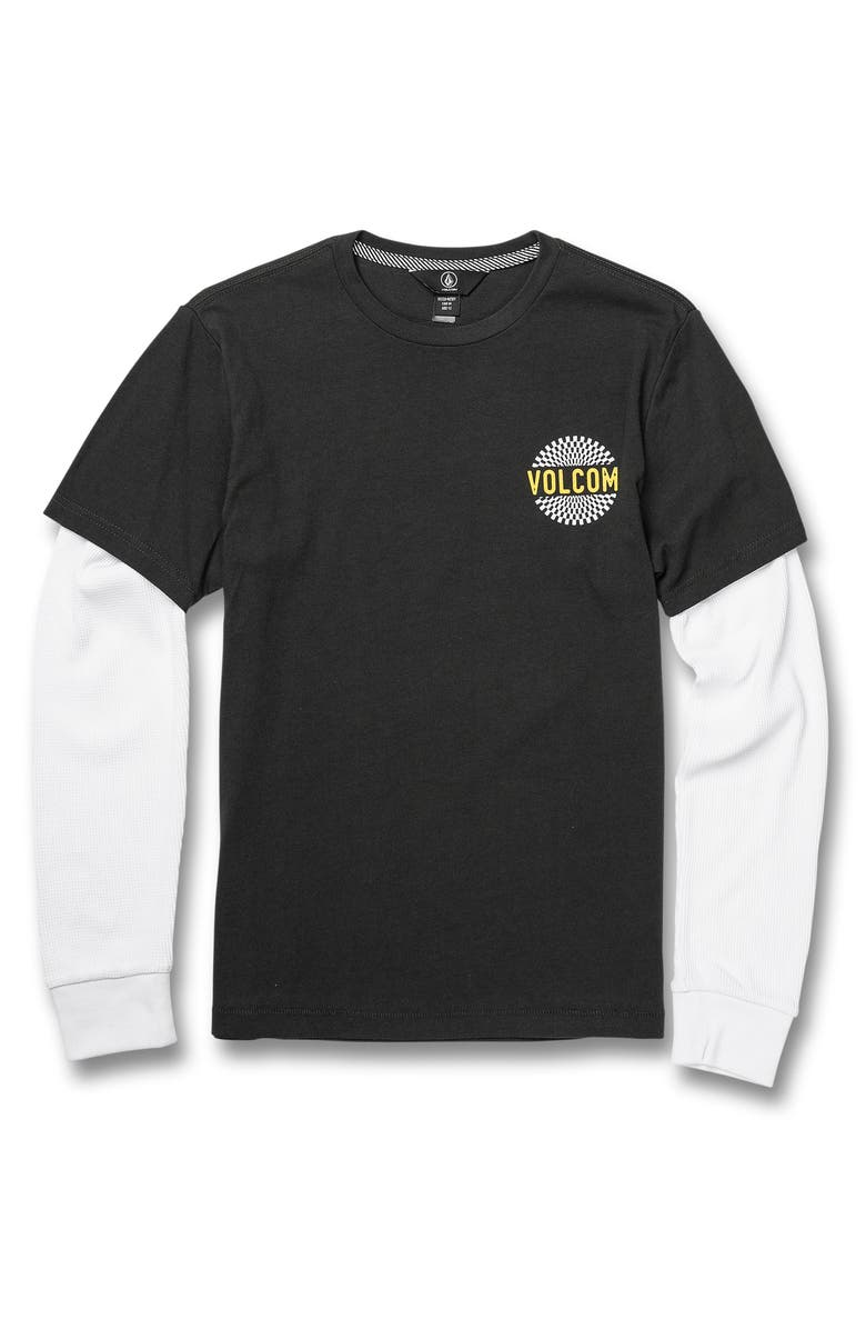 VOLCOM Grom Two Fer T-Shirt, Main, color, STEALTH
