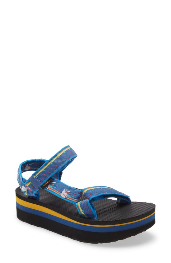 Teva Flatform Universal Chunky Sandals In Unicorn Blue-blues In Unicorn Dark Blue