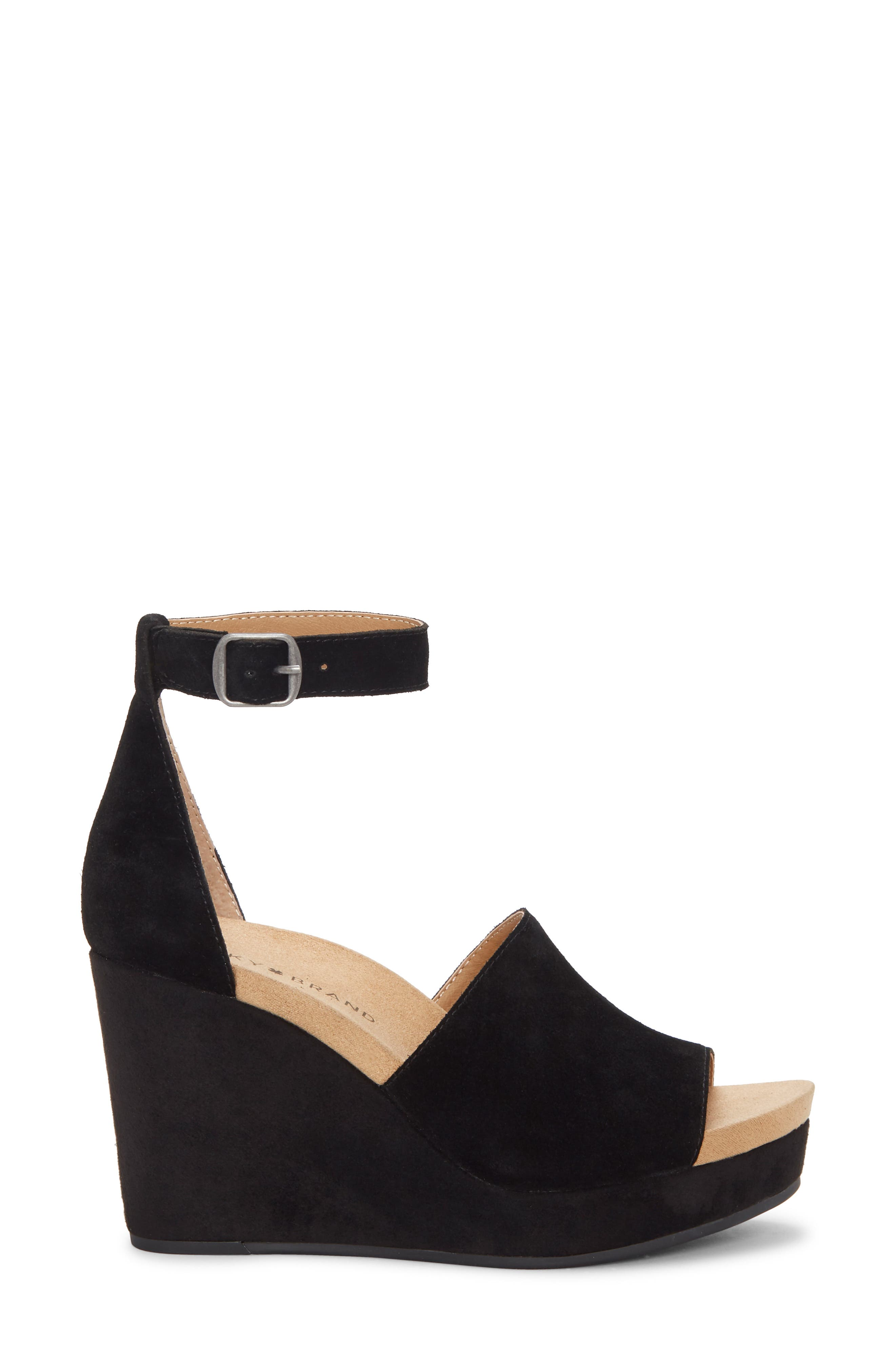 ,                             Yemisa Wedge Ankle Strap Sandal,                             Alternate thumbnail 3, color,                             BLACK OILED SUEDE