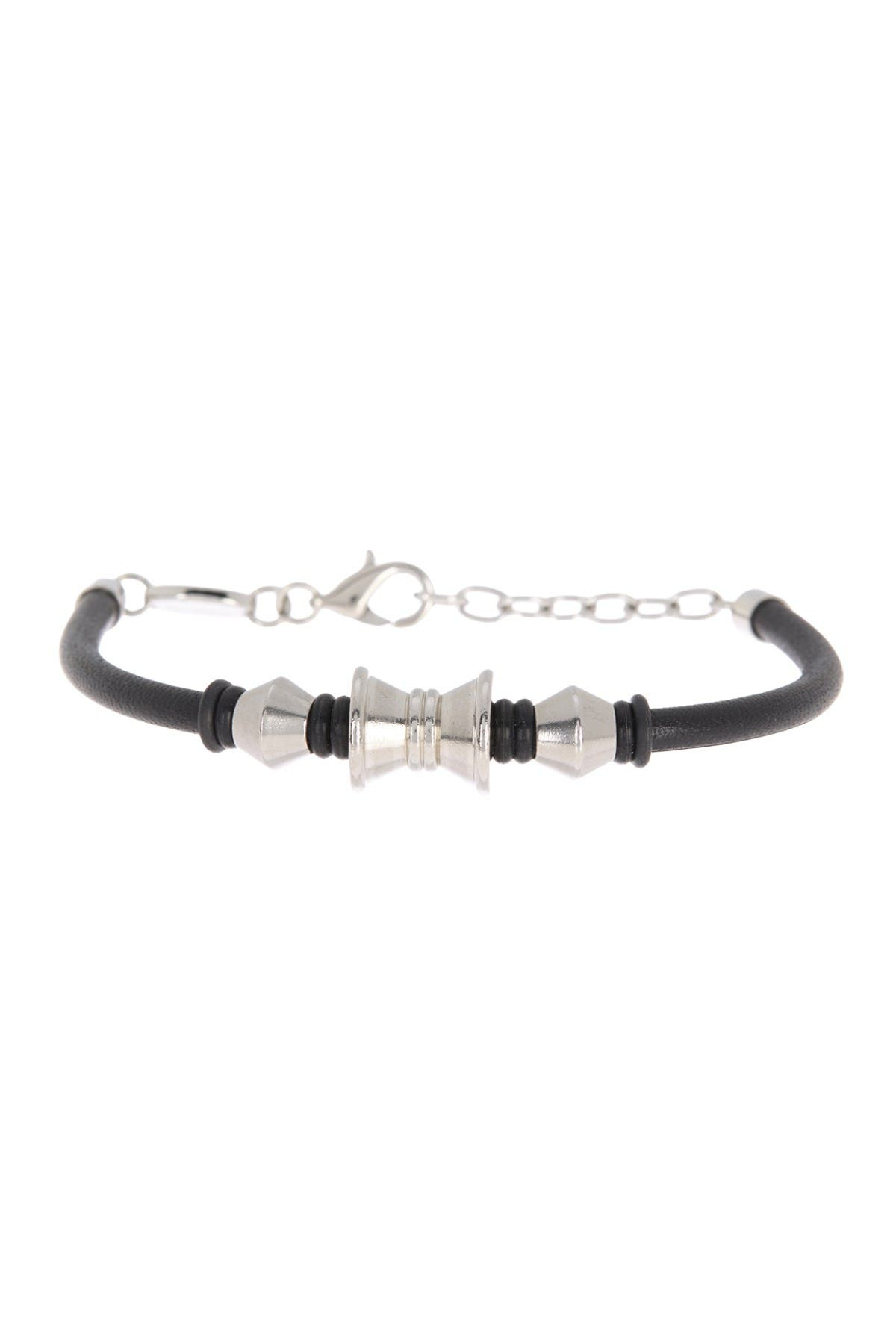 Image of Bruno Banani Stainless Steel Bead & Leather Bracelet
